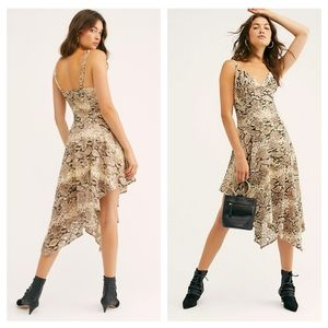 Free People Midnight Dance Snake Print Lace Dress